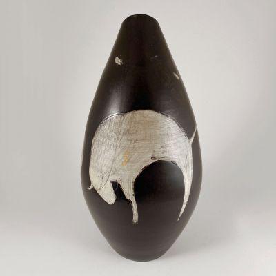 Vintage mid-century ceramic vase with buffalos_0