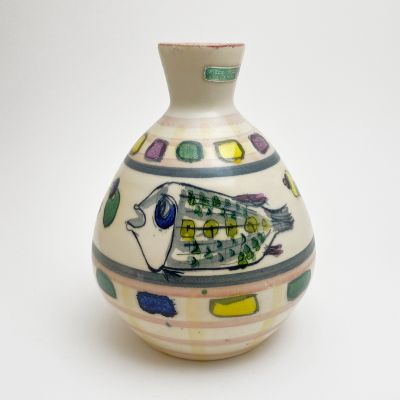 Vintage vase with fish by Accolay, France_0