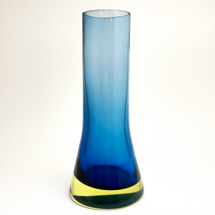 Blue Murano glass vase by Flavio Poli for Seguso