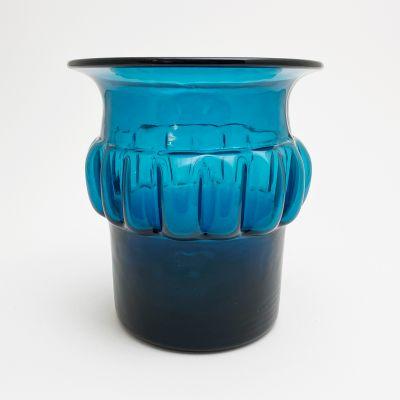 Vintage blue vase by Bertil Vallien for Boda Åfors_0