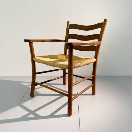 Vintage Swiss wooden armchair from Ticino