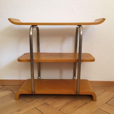 Bauhaus tubular steel and wood shelf_0
