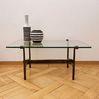 Vintage brutalist table wrought iron_0