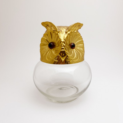 Glass and metal owl candy box